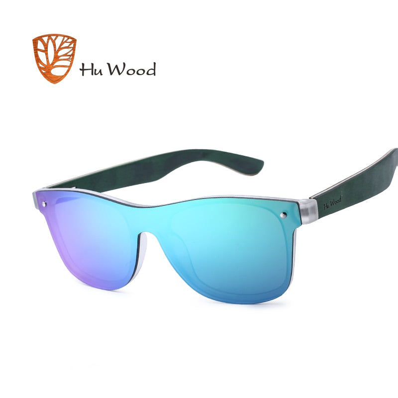 Wooden Earpiece Rectangle Sunglasses - Slappable Shades