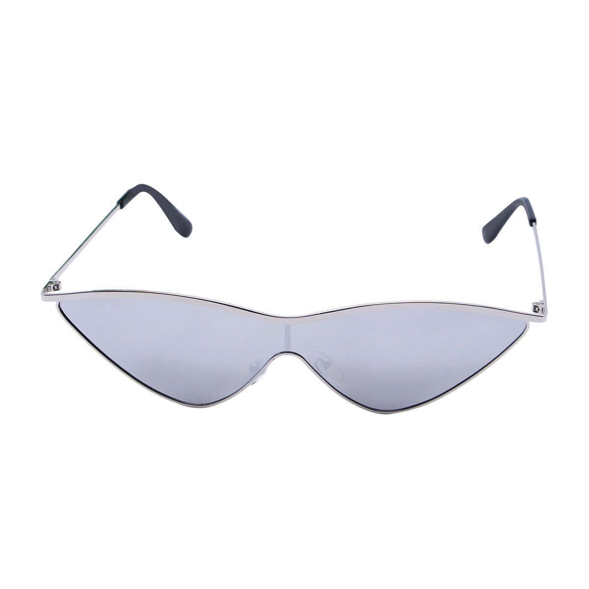 Women's Stylish Triangle Lens Cat Eye Sunglasses with Metal Frame with Colored Mirror - Slappable Shades
