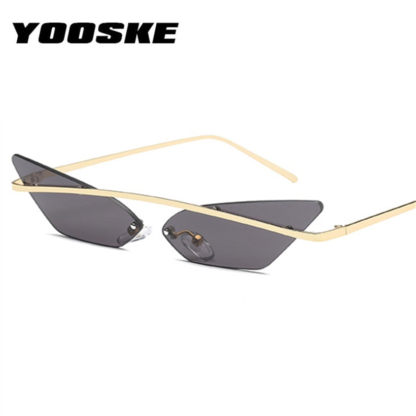 New 2019 Narrow Cat Eye Rimless Sunglasses by YOOSKE - Slappable Shades