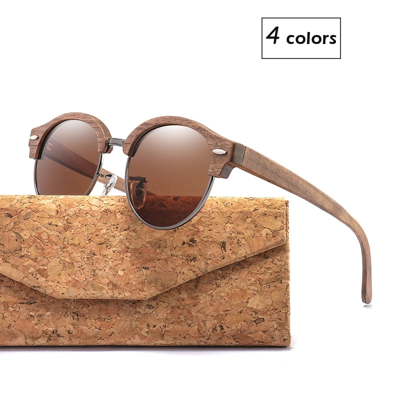 Designer Walnut Semi-Rimless Round Wood Sunglasses - Slappable Shades