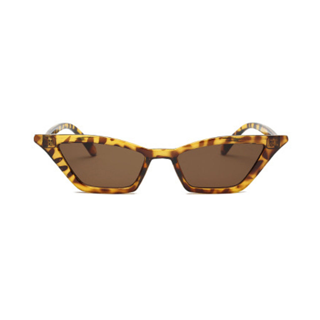 Leopard Print Frame and Brown Lens Cat Eye Sunglasses - Slappable Shades