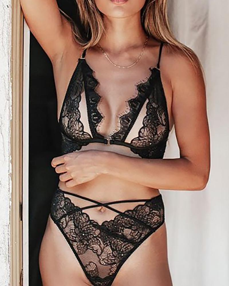 Lace Eyelash Cut Out Design Lingerie Set
