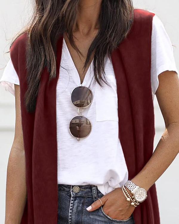 Solid Open Front Sleeveless Longline Cardigan