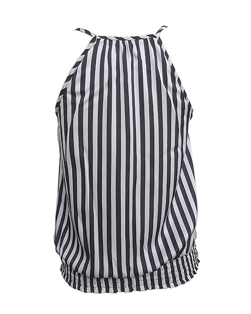 Striped Wrap Sleeveless Casual Top