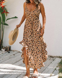 Leopard Ruffles Halter Maxi Dress