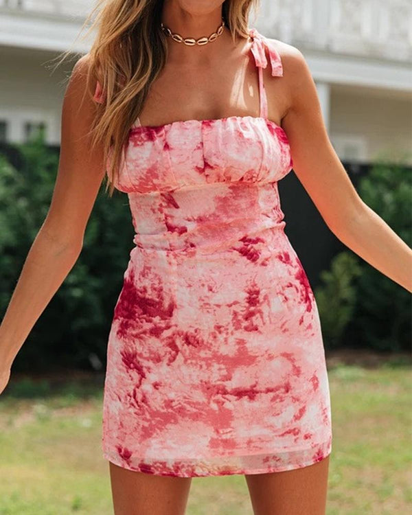 Tie Dye Bodycon Mini A-line Dress