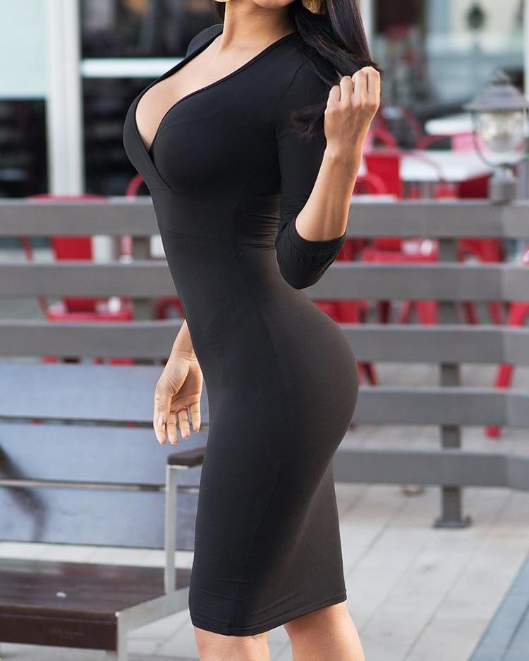 Deep V Long Sleeve Skinny Dress