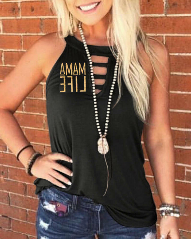 Letter Print Cut Out Sleeveless Casual T-shirt