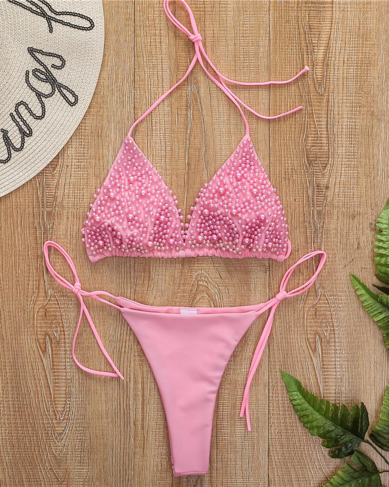 Spaghetti Strap Beaded Bikini Set