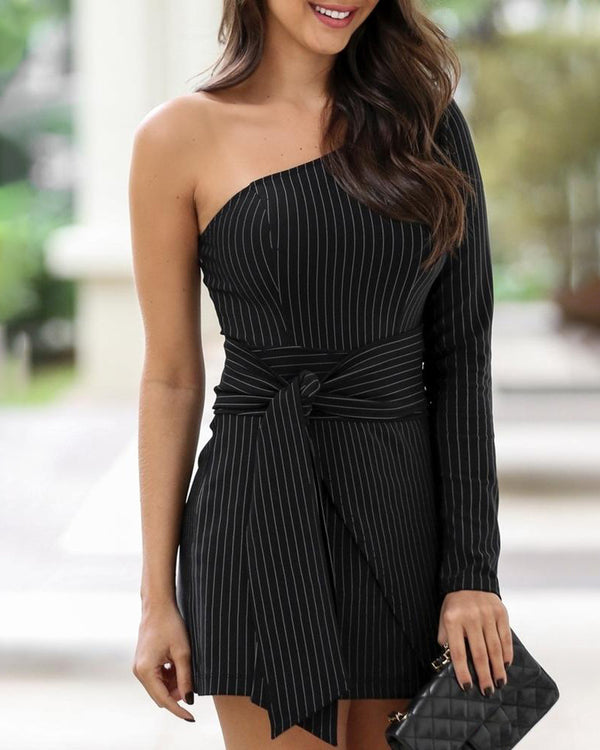 One Shoulder Striped Knotted Front Dress