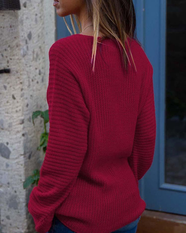 Solid Deep V Long Sleeve Pullover Sweater