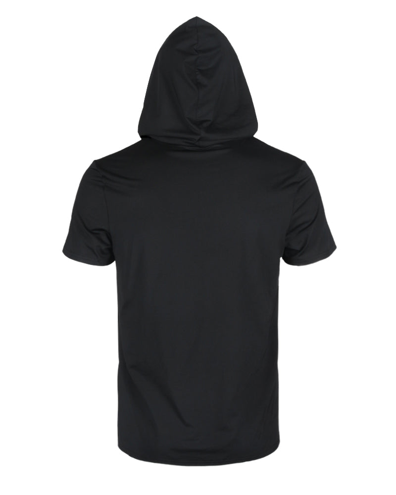 Print Hooded Casual T-shirt With Ear Loop Face Bandana