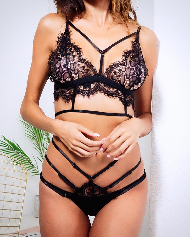 Solid Lace See Through Eyelash Lingerie Sets