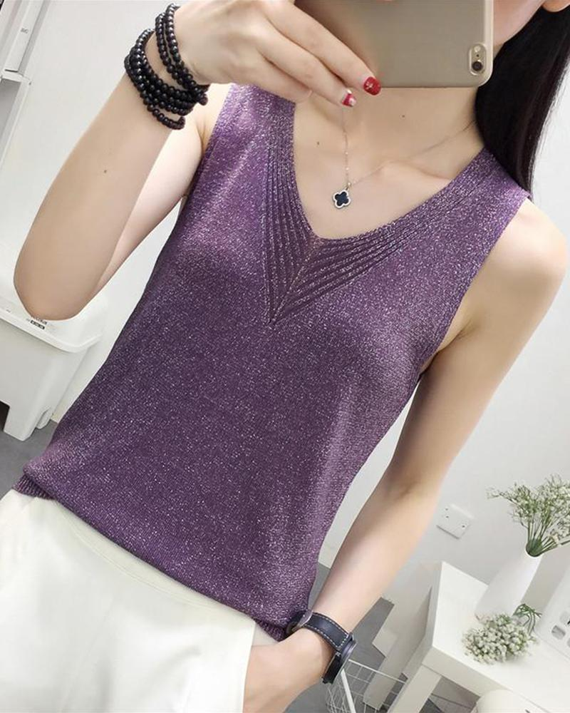 V-Neck Knitted Tank Top