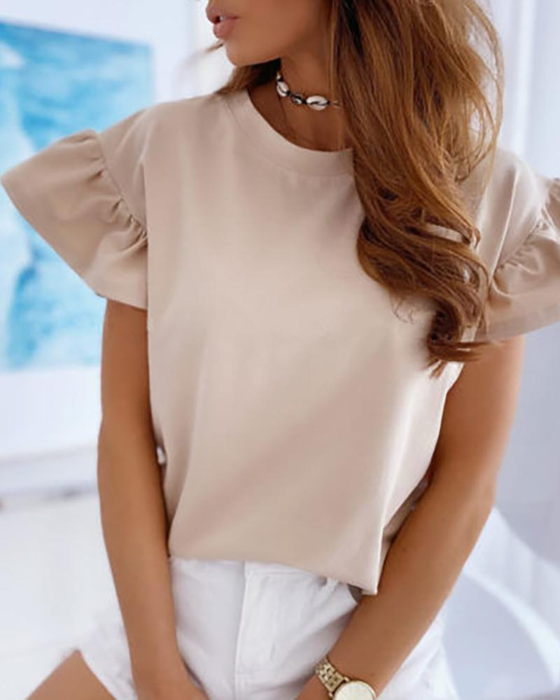 Solid Short Sleeve Ruffles T-shirt