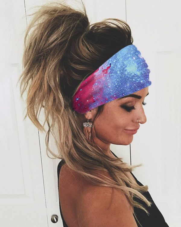 Sparkle Sky Print Yoga Running Elastic Headwraps Hair Band