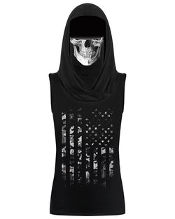 Skull&Flag Print Hooded Tank Top With Ear Loop Face Bandana