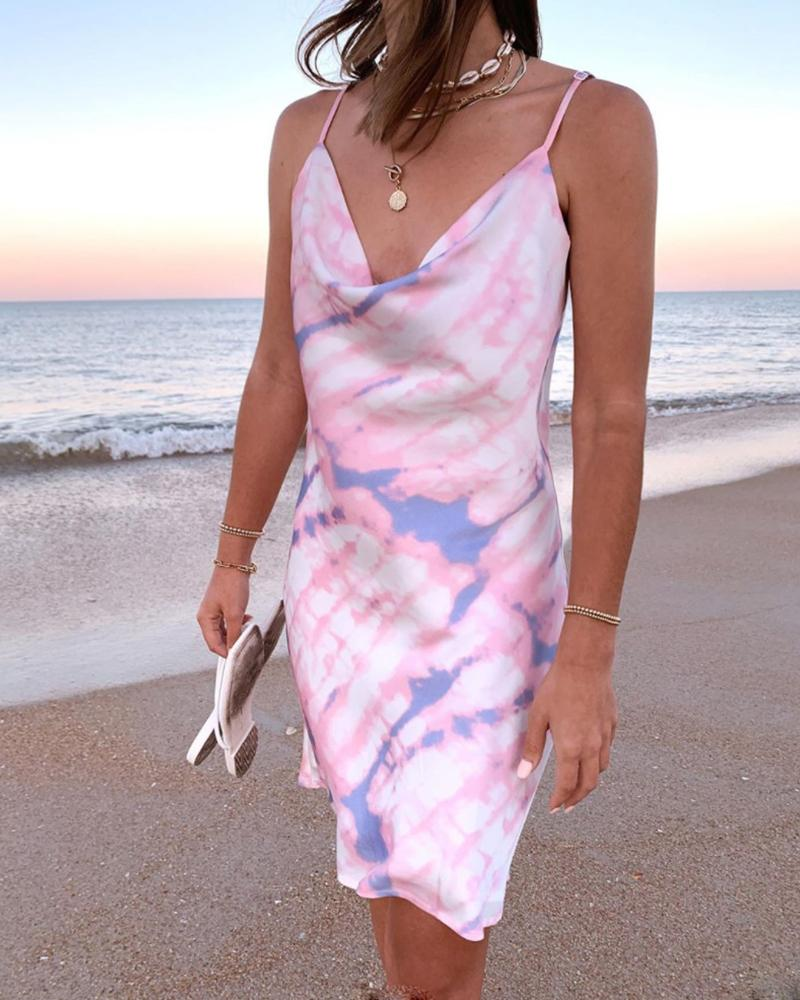 Tie Dye V Neck Spaghetti Strap Dress