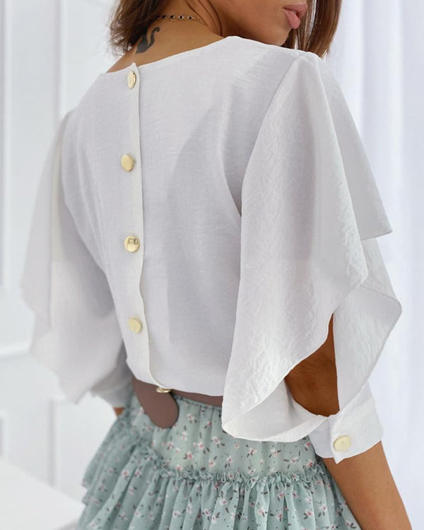 Button Design Butterfly Sleeve V-neck Blouse