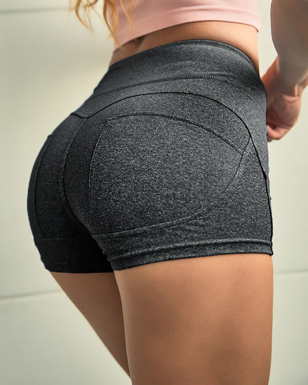 High Waist Solid Sporty Short