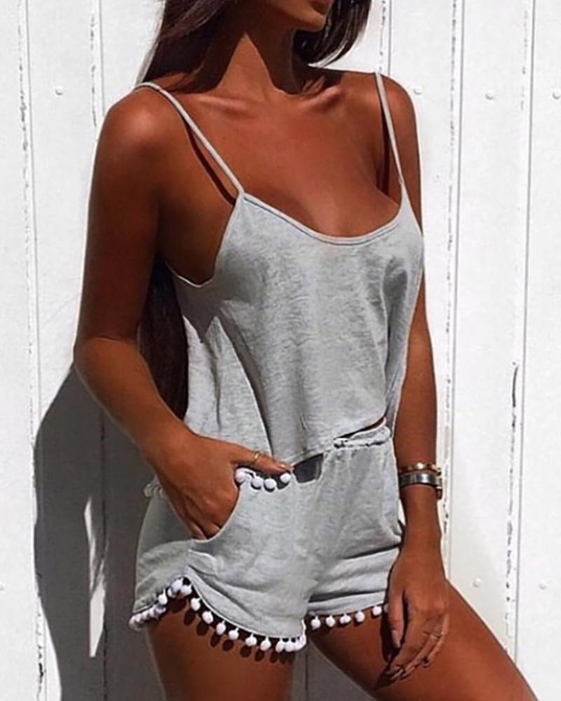Spaghetti Strap Pom Pom Top & Pockets Shorts Set