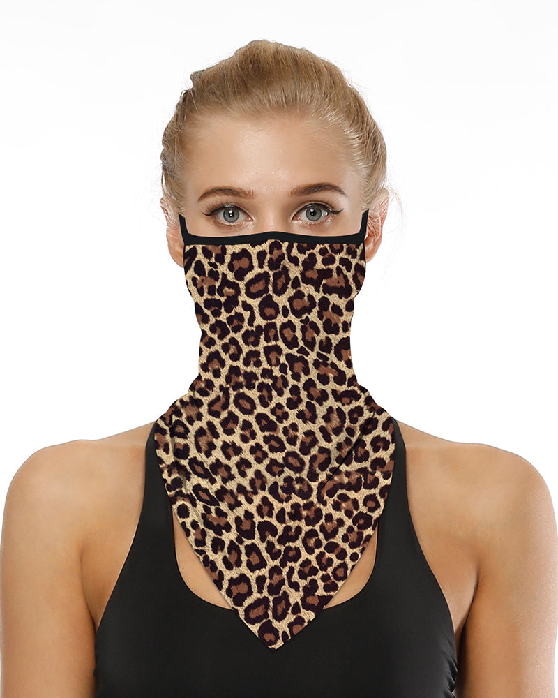 Leopard Print Breathable Ear Loop Face Cover Windproof Motorcycling Dust Outdoors Bandana