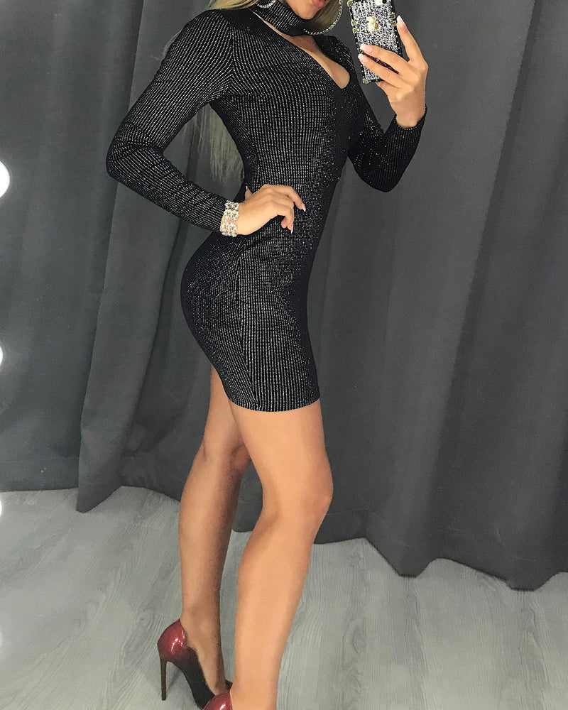 Glitter Long Sleeve Choker Bodycon Dress