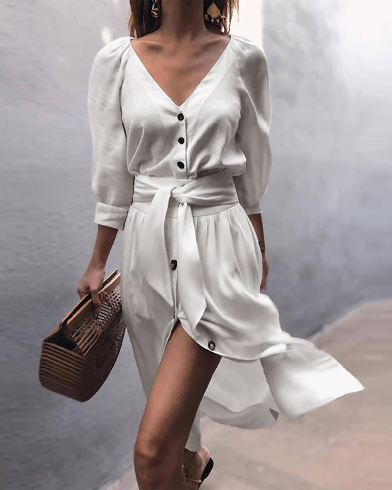 Button Design Bandage V-neck Casual Dress