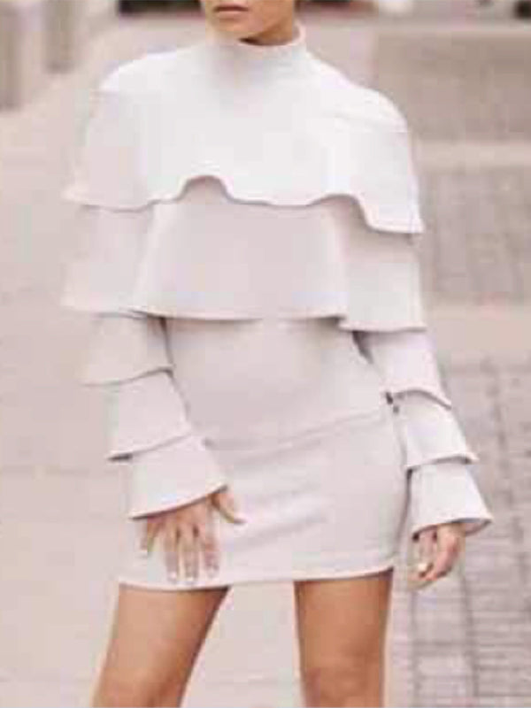 Solid Frills Layered Bodycon Mini Dress