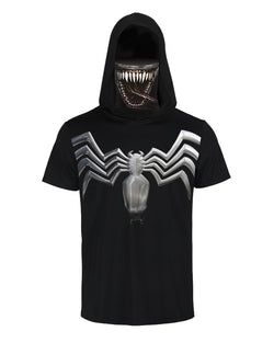 Skull Spider Print Hooded Short Sleeve T-shirt With Ear Loop Face Bandana