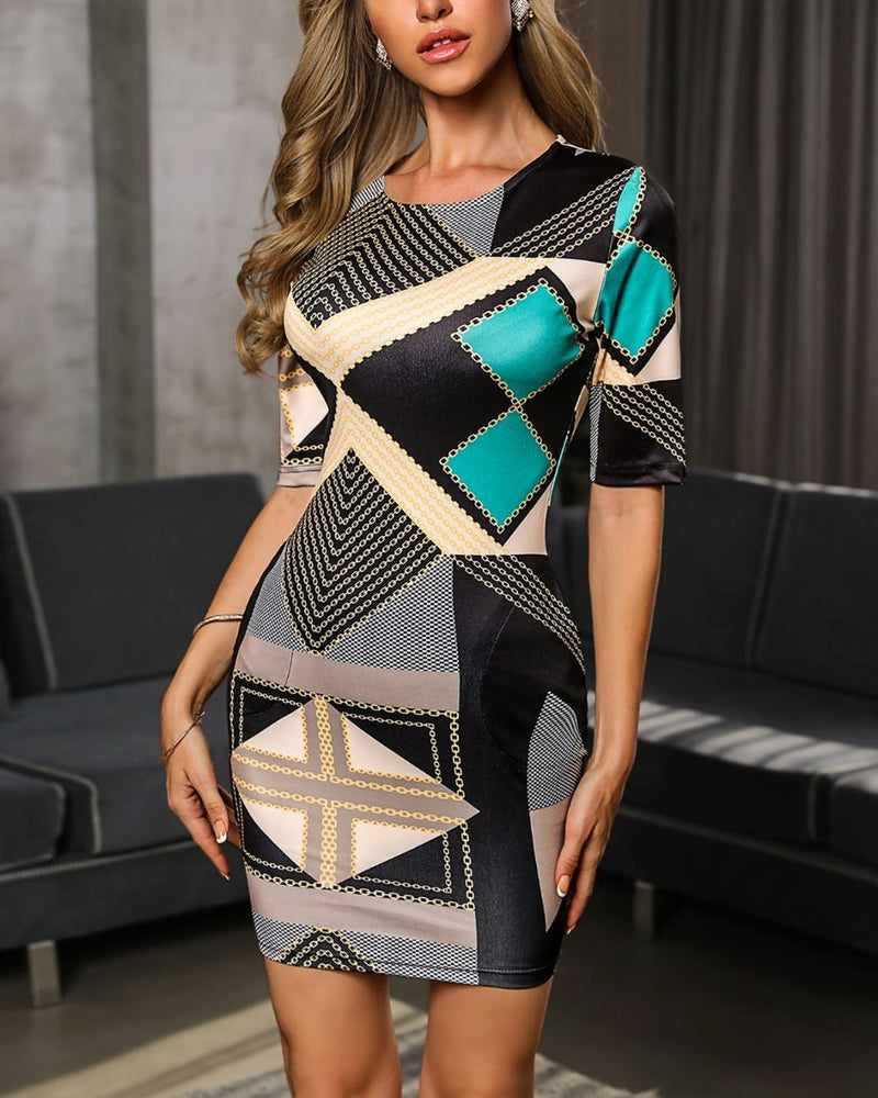 Geo Chain Print Bodycon Dress