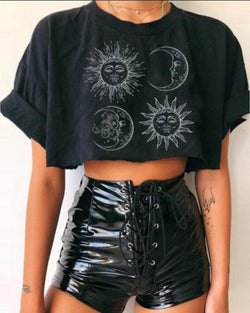 Print Round Neck Crop Top T-shirt