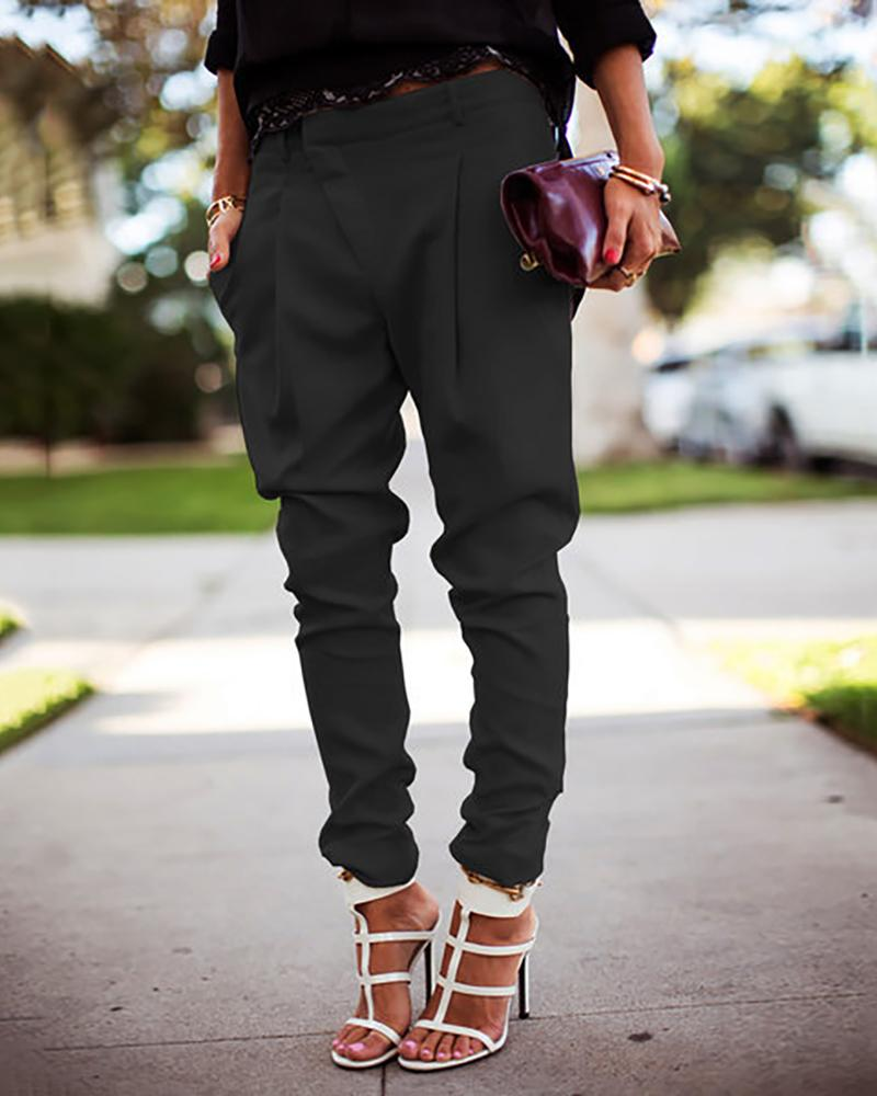 Solid Pocket Design Casual Pants
