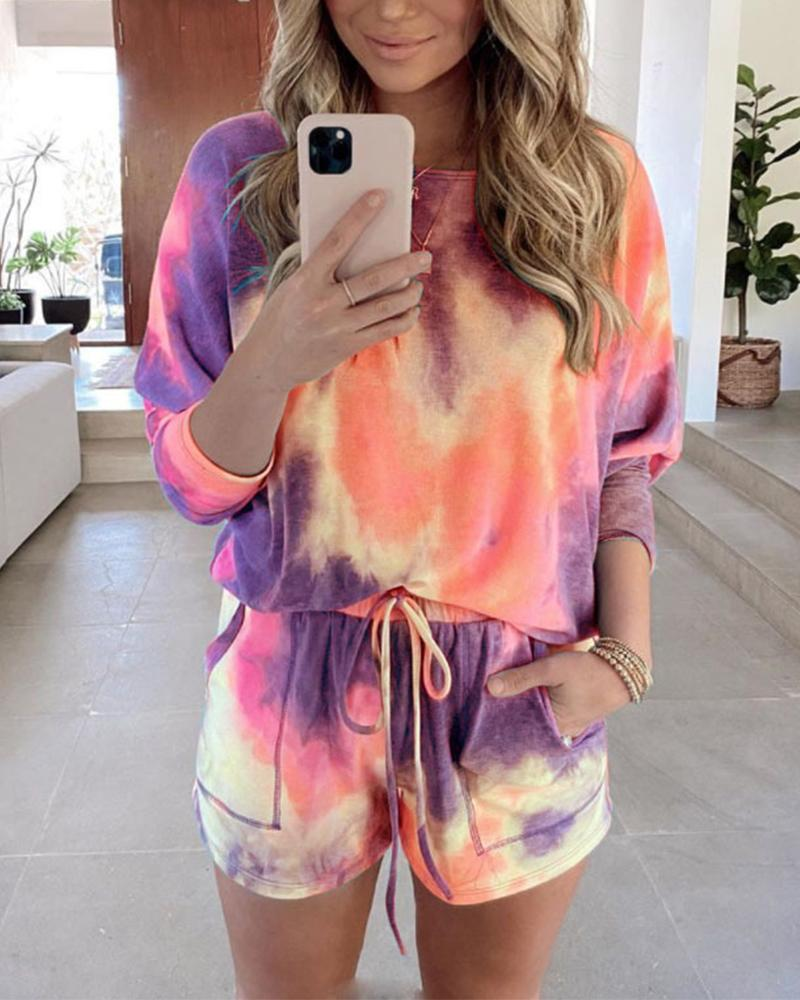 Tie Dye Long Sleeve T-shirt Pants Sets