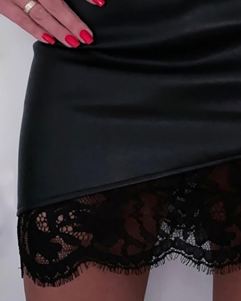 Faux Leather Lace Design Skirt