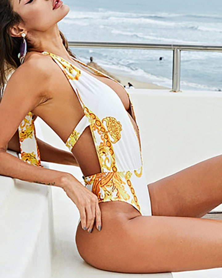 Retro Print Plunge Halter One Piece Swimsuit With Cover Up