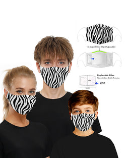 Zebra Print Mouth Mask Breathable Washable And Reusable With Replaceable Filter