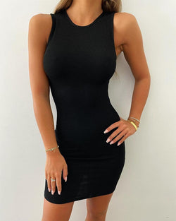 Round Neck Sleeveless Mini Dress