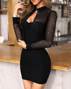 Glitter Sheer Mesh Cut Out Bodycon Dress