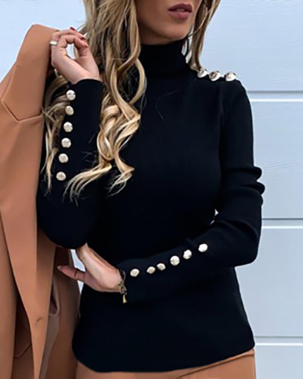 Solid High Neck Buttoned Detail Sweater