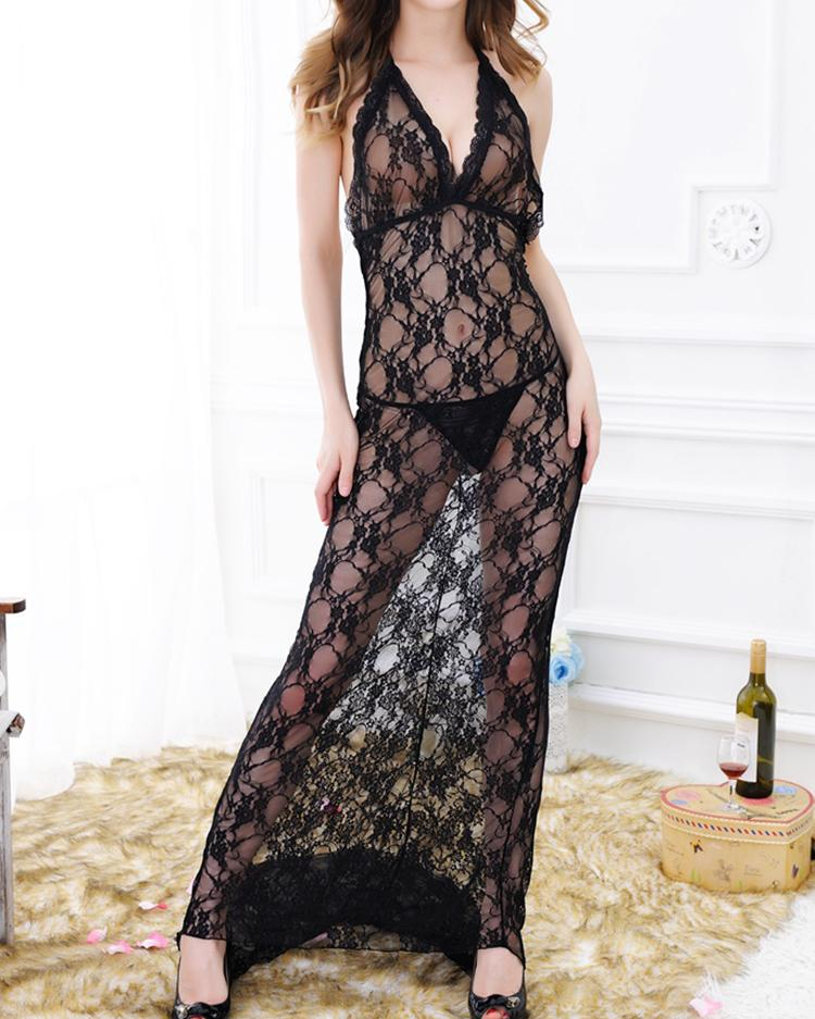 Stretchy Lingerie Nightwear Perspective Lace Maxi Dress
