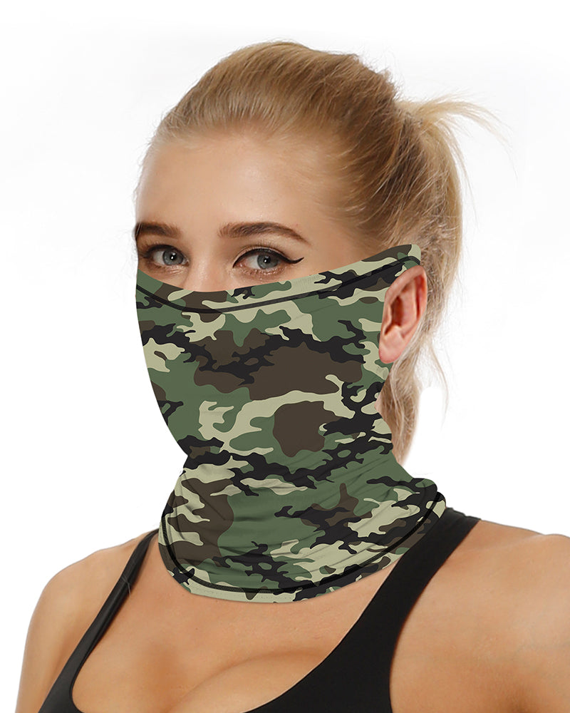 Camouflage Breathable Ear Loop Face Bandana Headwrap