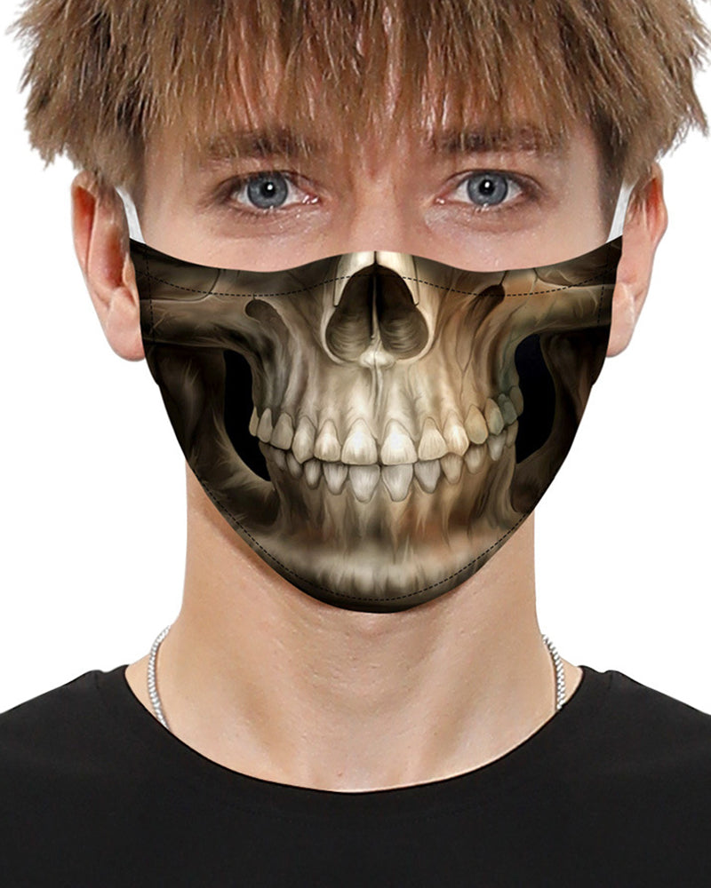 Skull Print Breathable Mouth Mask Washable And Reusable