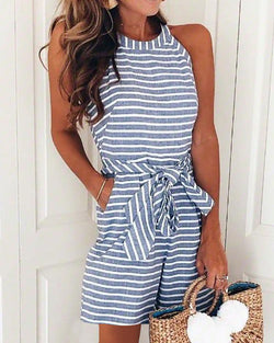 Striped Self Belted Casual Romper