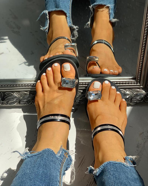 Studded Detail Toe Ring Slipper Sandals