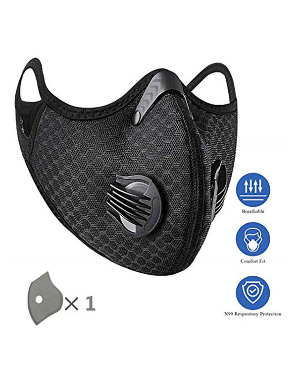 Solid Breathing Washable 2 Valves Face Mask (1 filters as gift)