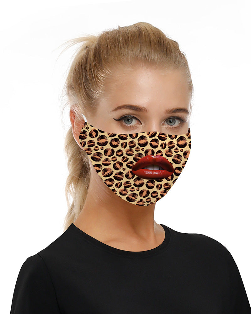 Lip Leopard Print Mouth Mask Breathable Washable And Reusable