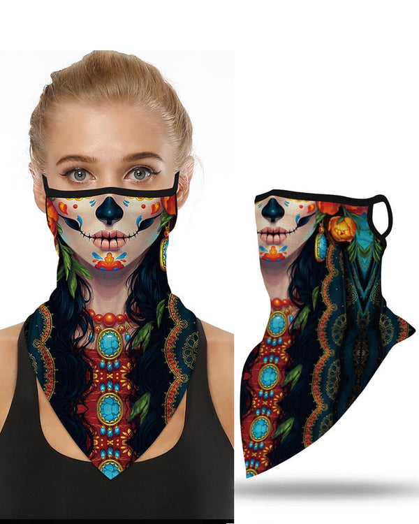 Skull Pattern Breathable  Ear Loop Face Cover Bandana Windproof Motorcycling Dust Outdoors