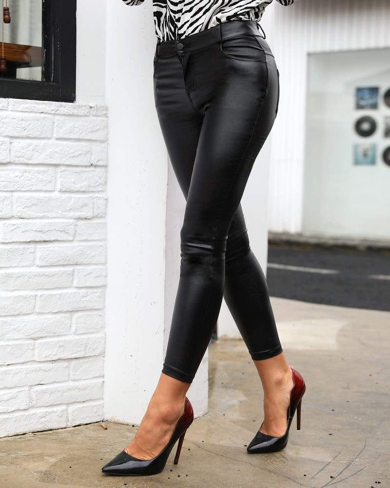 High Waist Coated PU Pants