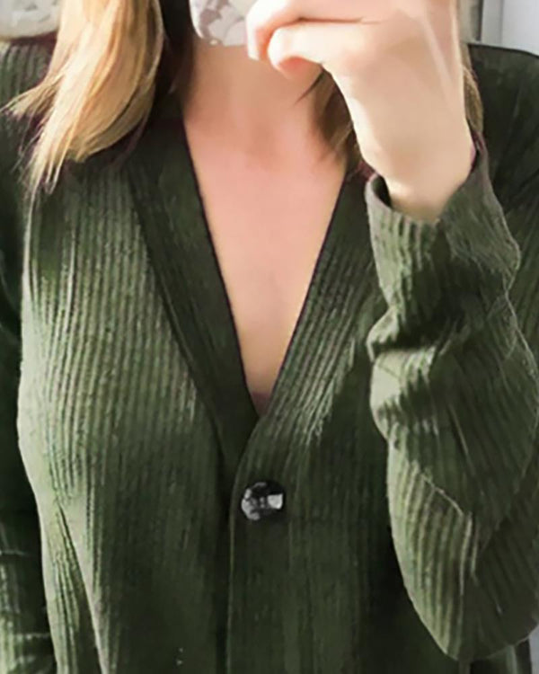 Solid V Neck Ribbed Buttoned Cardigan